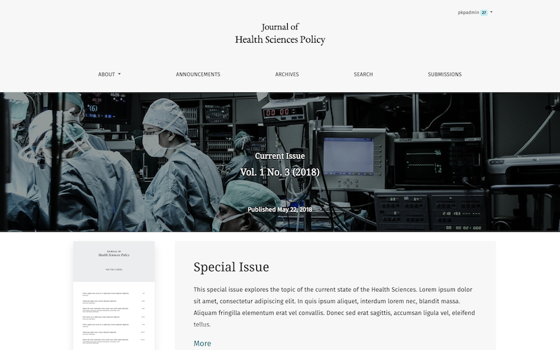 Preview of the Health Sciences theme's homepage
