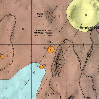 Geologic map of the Bonpland PQC region of the Moon by S. R. Titley (1971). Source: Lunar and Planetary Institute, Houston.